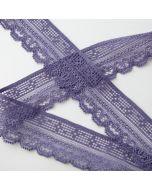3.5cm breite, elastische Spitze - schmales Spitzenband in puderviolett für Bekleidung und Unterwäsche.