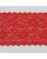 Elastisches Spitzenband, 18cm breit, ziegelrot