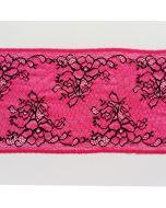 Elastische Spitze, pink-schwarz, 16cm breit