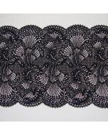 Elastische Spitze in schwarz - 19.5cm breit