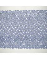 Elastische Spitze in hellblau-flieder für Unterwäsche und hautnahe Bekleidung - die Spitze ist 20cm breit.