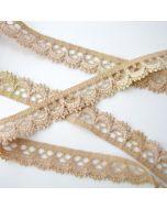 Elastische Spitze - Spitzenband in beige - 15mm breit für Bekleidung und Unterwäsche