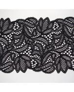 Elastische Spitze - Spitzenband in schwarz - 19cm breit mit zwei Bogenkanten für Unterwäsche - BH - Slips und Bekleidung.