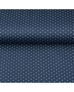 Getupfter Jersey Stoff mit weissen Pünktchen auf dunkelblau - Stoffzusammensetzung: 95% Bio Baumwolle 5% Elastan - 150cm breit