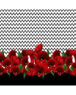 Extra grosses Stoff Panel in weiss-schwarz mit grossen, roten Blumenmotiven 150x150cm