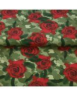 Jersey Stoff 'Camouflage' mit Tarnanzugmuster und Rosenmotiven