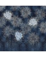 Grosses Jersey Stoff Panel in jeansblau mit blauem Blumenmuster - 150x150cm