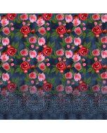 Jersey Stoff Panel in Jeansoptik mit Rosenmuster - 150x150cm