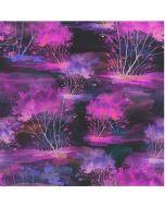 Weicher Jersey Stoff aus Baumwolle mit Fantasiemuster in verschidenen Türkis-, Violett- und Pinktönen für Damenbekleidung und Unterwäsche.