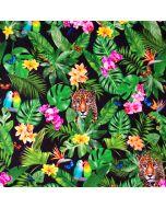 Bunter Jersey Stoff mit Dschungel-Motiven und Papagei- und Leopardenmuster.