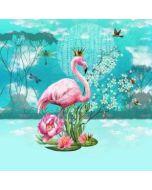 Bunter Jersey Stoff Panel mit Flamingomuster 75x150cm