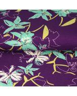 Viskose - Modal Jersey Stoff in Aubergine mit Blumenmuster - RESTSTÜCK à 90cm