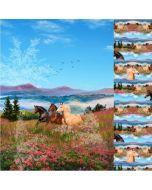 Toller Jersey Stoff Panel in Blautönen mit brauntem Pferd-Muster. Das Panel ist 120cm hoch und 150cm breit.