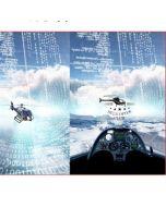 Bielastischer Jersey Stoff in himmelblau mit Flugzeug- und Helikoptermuster für Kinderbekleidung, Unterwäsche und Nachtwäsche.