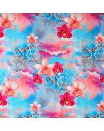 Weicher, bielastischer digitaldruck Jersey Stoff in kräftigen Pink- und Türkistönen mit Orchideenmuster.