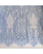 Elastische Spitze in hellblau mit Jugendstil-ähnlichem Muster - die Spitze hat beidseitig Bogenkanten