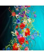 Wunderschöner Badelycra Stoff, im Farbverlauf türkis-petrol mit Blumenbordüre. Der Stoff ist perfekt für Bademode und Kürkleider.
