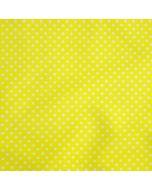 Lässiger Badelycra (Lycra) Stoff in gelb mit winzigen Pünktchen in weiss. Die Tupfen sind ca. 2mm, der Stoff ist perfekt für Bademode, Kürkleider, Tanzkleider.