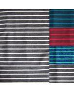 Unterwäschestoff - Funktions Lycra Stoff in grau, türkis oder rubinrot mit 5mm breiten uni Streifen und 15mm breiten melange Streifen - 170 g/m2 schwere Meterware für Unterwäsche und Funktionsbekleidung.
