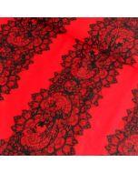 Lycra / Badelycra Stoff Panel 'Spitze' in rot-schwarz