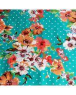 Badelycra, Lycra Stoff, türkis getupft mit Blumen