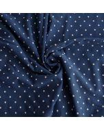 Getupfter Badelycra Stoff in dunkelblau mit kleinen Pünktchen in offwhite für Badeanzüge, Bikinis oder Tankinis.