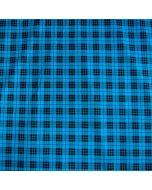 Bielastischer Wäschestoff in blau mit Schottenkaro-Muster (Tartanmuster) für Funktionsbekleidung und schnell trocknende Unterwäsche.