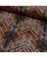 Mittelschwerer Sweat Stoff mit angeruter Rückseite in schwarz-braun-terracotta mit einem speziellen Wollen-Optik. Der Stoff sieht aus wie gefärbte Wolle
