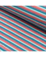 Glitzernder Jersey Stoff mit schmalen Streifen in lachs, mint und türkis und einem Glitzerstreifen.
