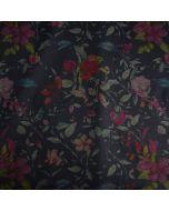Toller, bielastischer Punta di Roma - Romanit Jersey Stoff in blau-schwarz mit Blumenmuster für Damenbekleidung.