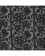 French Terry (Sommersweat) Stoff in blaugrau mit schwarzem, klassischem Blumenmuster - 240 g/m2 schwere Meterware für T-Shirts, Leggings.
