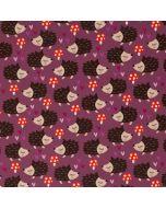 Süsser Softshell Stoff in aubergine mit Igel- und Pilzmuster - der Stoff ist warm, wasserabweisend und winddicht, Rückseite mit Kurzhaarflor.