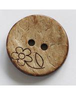 Kokosknopf mit Blümchen-Prägung