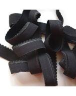 Unterbrustgummi in schwarz - 15mm breit mit einer Schmuckkante: für BHs, Bustiers.