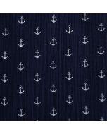 Weicher Musselin (Double Gauze) Stoff in dunkelblau mit weissem, gedruckten Ankermuster für Maritime und sommerliche Kinderklamotten und Damenkleider.