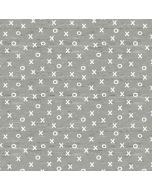Jersey Stoff 'XOXO' in graumelange-weiss