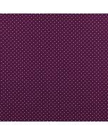 Getupfter Popeline Stoff in aubergine aus 100% Baumwolle mit weissen Pünktchen für Kinder- und Damenbekleidung oder Deko.