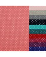 Feiner, weicher Baumwolle Popeline Stoff aus Baumwolle in diversen Farben mit winzigen, weissen Pünktchen. Perfekt für Bekleidung und Deko.