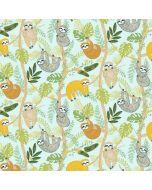 Weicher Jersey Stoff mit Faultier-Motiven in div. Orange- und Grüntönen für Kinderbekleidung, Unterwäsche und Nachtwäsche.