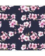 Jersey Stoff 'Cherry Blossom' in dunkelblau mit feinen Kirschblüten-Motiven in rosa und weiss für weiche Damenbekleidung: Tunikas, Leggings, T-shirts und Tops, Unterwäsche.