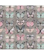 Canvas Stoff in batik-grau mit Schmetterlingsmuster in leichten Pastelltönen (rosa, flieder, mint) und schwarz für Taschen, Dekokissen, Raumtrenner; usw.