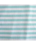 Weicher Musselin Stoff aus 100% Baumwolle in weiss-aquamarine gestreift. Die Streifen sind 14mm breit - der Stoff ist perfekt für Kinder- und Damenbekleidung.