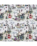 Digitaldruck Canvas Stoff in ecru mit bunten Motiven aus traditionell chinesischen Szenen des Lebens - der Stoff ist aus 100% Baumwolle.