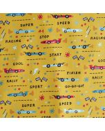 Baumwolle Popeline Stoff in ocker mit Rennauto-Motiven - Webware aus 100% Baumwolle für Kinderbekleidung