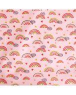 Bielastischer jersey Stoff in rosa mit feinen, bunten Regenbogen-Motiven. Der Stoff ist perfekt Baby- und Kinderbekleidung, Unterwäsche und Nachtwäsche. Der Stoff hat GOTS-Zertifikat.