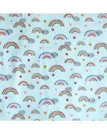 Jersey Stoff in aquamarine mit bunten Regenbogen-Muster für Baby- und Kinderbekleidung, Unterwäsche und Nachtwäsche. Der Stoff hat GOTS-Zertifikat.