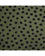 Weicher, bielastischer Jersey Stoff in olivgrün mit schwarzen, mittelgrossen Pünktchen in schwarz - der Stoff ist perfekt für Bekleidung und Unterwäsche