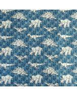 Super weicher, warmer, bielastischer Sweat Stoff in hellblau mit lässigem Dino - Dinosauriermuster in Origami-Stil - der Stoff hat GOTS-Zertifizierung.