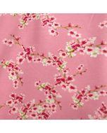 Puderrosa GOTS soft French Terry - Sommersweat Stoff mit Kirschblüten-Motiven