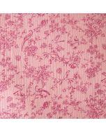 Weicher Musselin (Double Gauze) Stoff in altrosa mit feinen Blumen- und Vogelmotiven in plum für Damenbekleidung und Kinderklamotten.